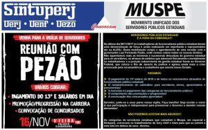 Muspe e Sintuperj convocam - Vigília de servidores durante a reunião com Pezão @ Palácio Guanabara