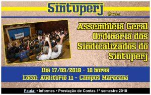 Assembleia Geral Ordinária dos sindicalizados do Sintuperj @ Auditório 11 - Campus Maracanã da Uerj