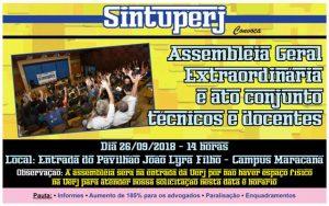 Uerj: Assembleia Geral Extraordinária + Ato conjunto técnicos e docentes @ Entrada do Pavilhão João Lyra Filho - Campus Maracanã da Uerj