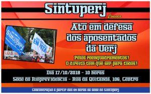 SINTUPERJ CONVOCA: Ato no Rioprevidência em defesa dos aposentados da Uerj @ Sede do Rioprevidência