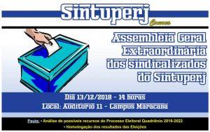 SINTUPERJ CONVOCA: Assembleia Geral Extraordinária dos sindicalizados @ Auditório 11 - Campus Maracanã da Uerj