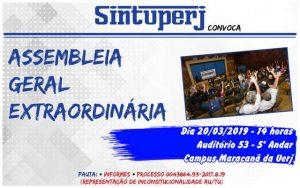 SINTUPERJ CONVOCA: Assembleia Geral Extraordinária @ Auditório 53 - Campus Maracanã da Uerj