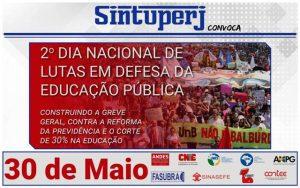 SINTUPERJ CONVOCA: 2º Dia Nacional de Lutas em defesa da Educação Pública @ Rio de Janeiro