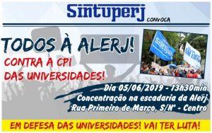 SINTUPERJ CONVOCA: Todos à Alerj contra a CPI das Universidades Públicas @ Alerj - Assembleia Legislativa do Estado do Rio de Janeiro