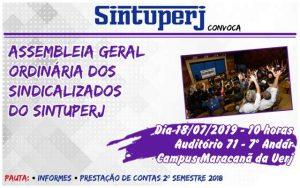 SINTUPERJ CONVOCA: Assembleia de Prestação de Contas (2º semestre de 2018) @ Auditório 71 - Campus Maracanã da Uerj