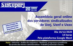 SINTUPERJ CONVOCA: Assembleia online dos servidores sindicalizados de Uerj, Uenf e Uezo @ Plataforma Google Meet