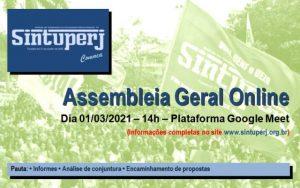 SINTUPERJ CONVOCA - Assembleia Geral Extraordinária Online @ Plataforma Google Meet