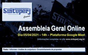 SINTUPERJ CONVOCA: Assembleia Geral Extraordinária Online @ Plataforma Google Meet